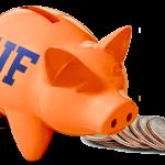 orange and blue piggy bank