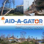 post-hurricane damage photos with aid-a-gator logo overlaid