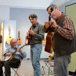 bluegrass trio boilin' oil performing at university gallery