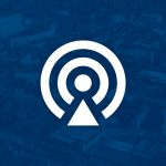 podcast signal icon over campus aerial shot and blue filter