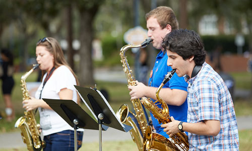 Musicians playing saxophone