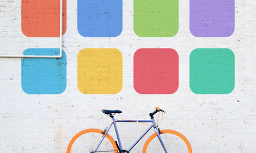 a bicycle against a wall