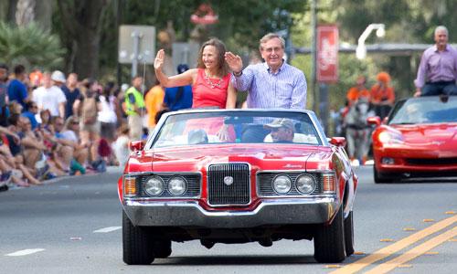 President Fuchs in car